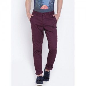 United Colors of Benetton Burgundy Slim Fit Printed Chinos