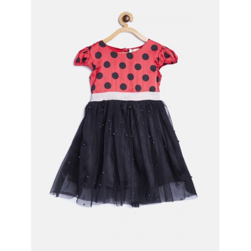 Bella Moda Black & Red Polka Dot Print Fit & Flare Dress