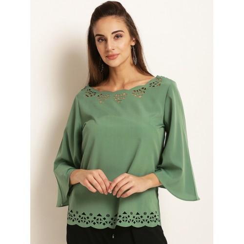 RARE Women Green Polyester Self Design A-Line Top