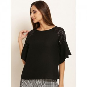 RARE Women Black Polyester Solid Embellished Top