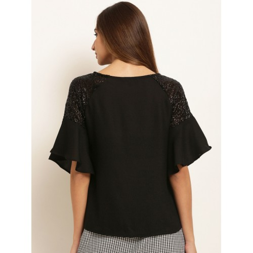 RARE Women Black Polyester Solid Embellished Top