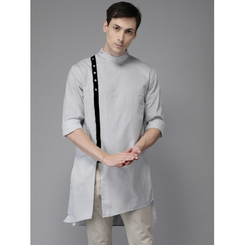 Freehand Men Grey & Black Cotton Printed Straight Kurta