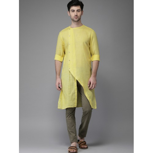 Freehand Men Yellow Cotton Solid Straight Kurta