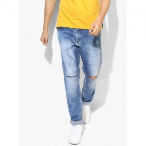John Players Blue Cotton Low Rise Skinny Fit Jeans