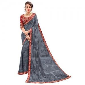 DesiButik's Ravishing Grey Georgette Designer Saree