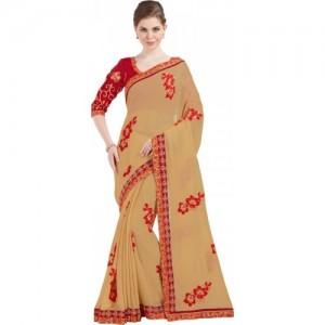 Desi Butik Embroidered Fashion Chiffon Saree(Beige)