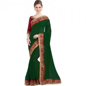 Desi Butik Embroidered Fashion Chiffon Saree(Green)
