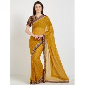Desi Butik Embroidered Fashion Georgette Saree(Yellow)