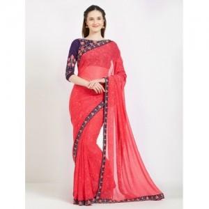 Desi Butik Embroidered Fashion Georgette Saree(Pink)