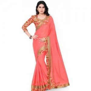 Desi Butik Floral Print Fashion Chiffon Saree(Pink)
