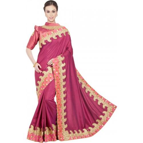 736327c0eef9a7 Buy Desi Butik Embroidered Fashion Silk Saree(Purple) online ...