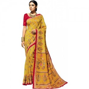 Desi Butik Digital Prints Fashion Tussar Silk Saree(Yellow)