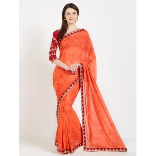 Desi Butik Embroidered Fashion Georgette Saree(Orange)
