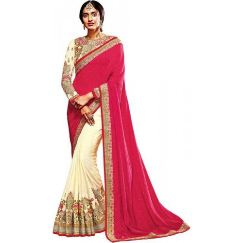 Desi Butik Embroidered Fashion Crepe Saree(Pink)