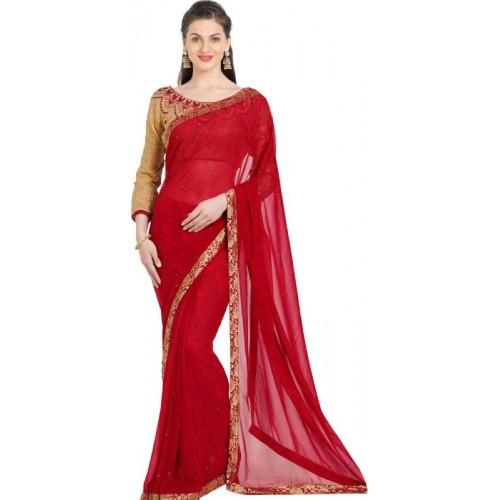 Desi Butik Embroidered Fashion Georgette Saree(Red)