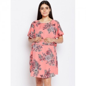 Oxolloxo Women Peach-Coloured Polyester Printed A-Line Maternity Dress
