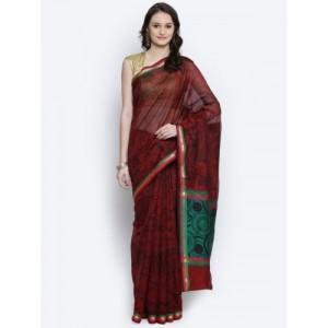 Bunkar Maroon & Black Cotton Supernet Floral Print Banarasi Saree