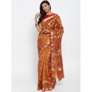 Bunkar Orange Patterned Dual-Toned Banarasi Saree