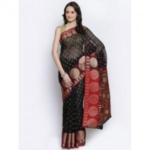 Bunkar Black Cotton Supernet Printed Banarasi Saree