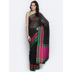 Bunkar Black Supernet Cotton Printed Banarasi Saree