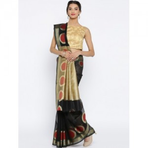 Bunkar Black Supernet Patterned Banarasi Saree
