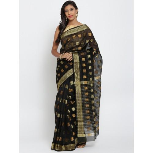 Bunkar Black Patterned Banarasi Saree
