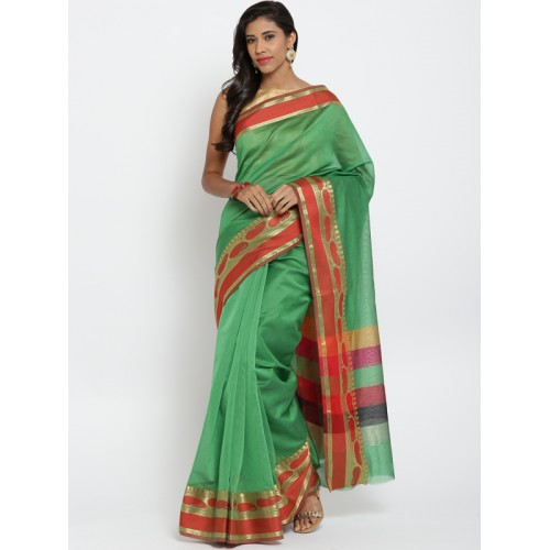 Bunkar Green Chanderi Cotton Banarasi Saree