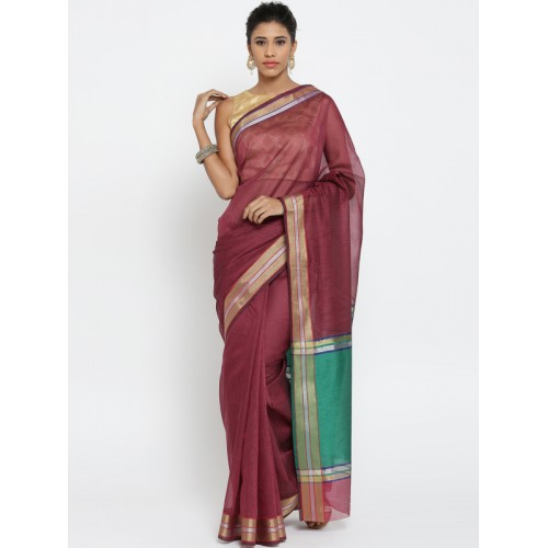Bunkar Pink & Black Self-Striped Banarasi Saree