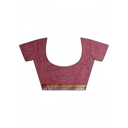 Bunkar Pink & Black Self-Striped Banarasi Saree