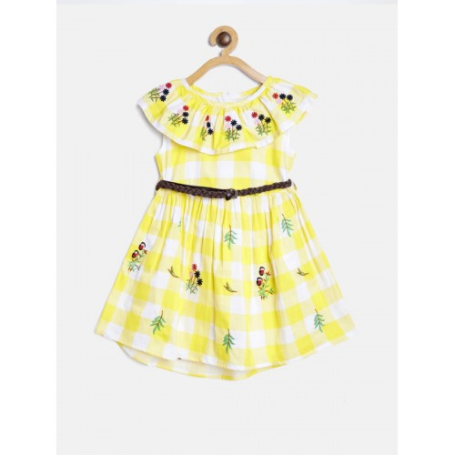 Bella Moda Yellow Cotton Checked Dress