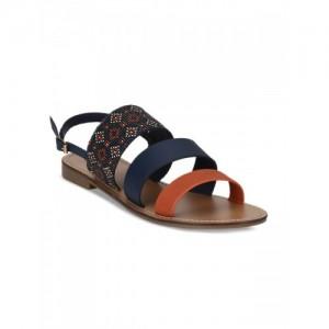 15540c25b Red Tap Blue Woven Design Open Toe Flats Sandals