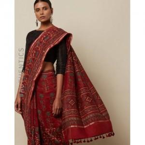 Indie Picks Kutch Handblock Print Ajrak Pure Chanderi Saree
