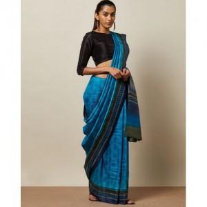 Indie Picks Handblock Print Pure Desi Tussar Silk Saree