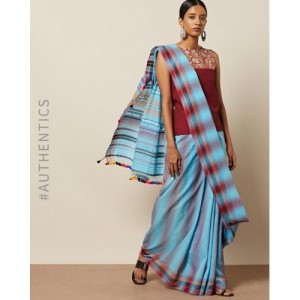 Indie Picks Cotton Handloom Woven Bhujodi Kutch Saree with Tassels