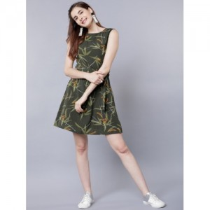 Tokyo Talkies Olive Green Printed Fit and Flare Dress