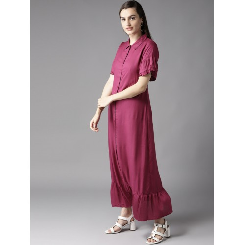 HERE&NOW  Magenta Rayon Slim Fit Solid Maxi Dress