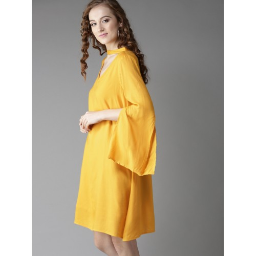 HERE&NOW  Yellow Rayon Slim Fit Solid A-Line Dress