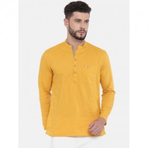 Peter England Mustard Yellow Solid Straight Kurta