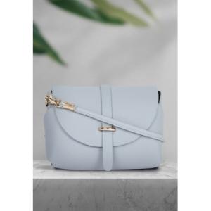 DressBerry Blue Polyurethane Textured Small Sling Bag