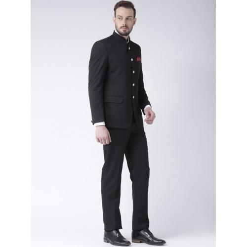 HANGUP Men Designer Solid Black Suit