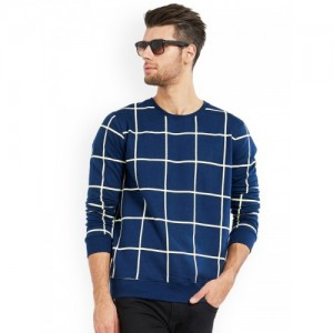 Maniac Navy Blue Cotton Checked Round Neck T-shirt