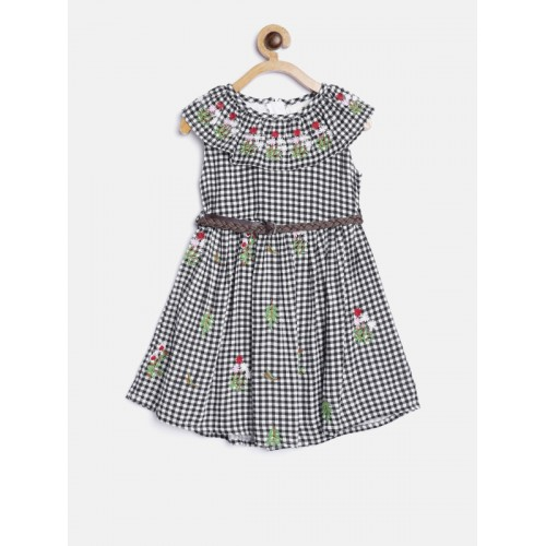 Bella Moda Black & White Cotton Checked Fit and Flare Dress