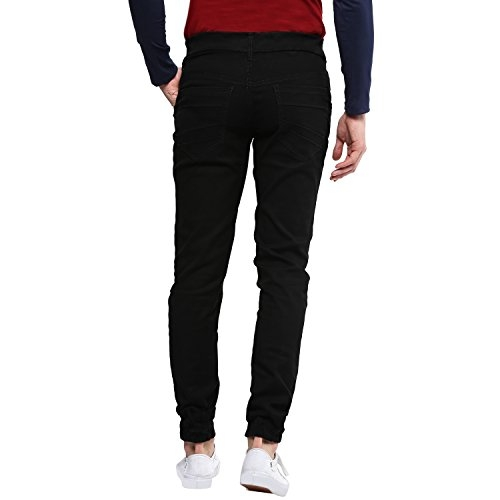 Urbano Fashion Black Cotton Solid Slim Fit Jogger Jeans