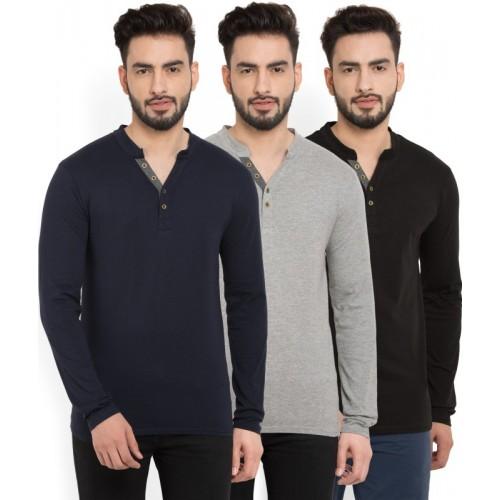 Billion Multicolor Cotton Solid Henley T-Shirt(Pack of 3)
