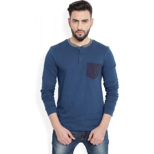 Billion Dark Blue Cotton Solid Men Henley T-Shirt