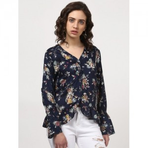 d2a7670af73 Buy THE VANCA The Vanca Navy Rayon top in with embroidery at yoke ...