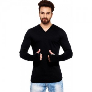 THE ARCHER Black Cotton Solid Men V-neck T-Shirt