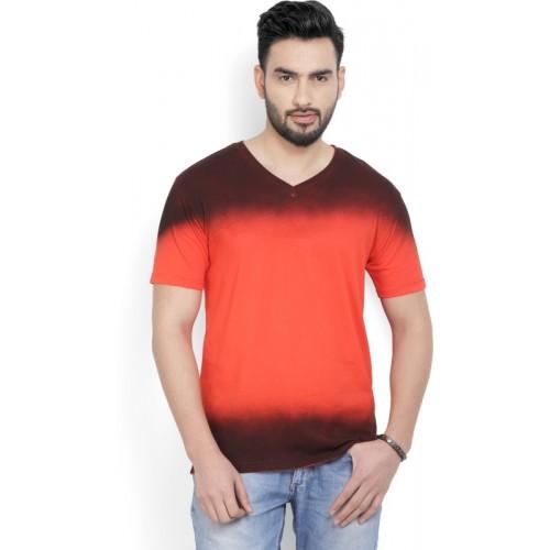 Billion Orange & Maroon Cotton Self Design V-neck T-Shirt
