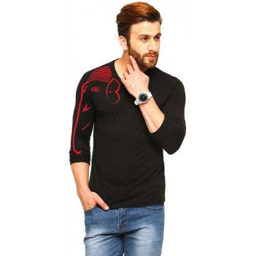 924772380a3 Buy Tripr Black Cotton Printed Men V-neck T-Shirt online