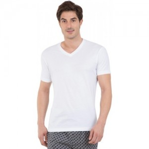 Jockey White Cotton Solid Men V-neck T-Shirt
